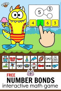 Practice number bonds to 10 using this engaging Monster Dress-Up game! This fun game for kids works with any device including iPads, computers, . Educational Math Games, Educational Websites For Kids, Free Games For Kids, Math For Kids, Math Board Games, Cat Games, Dice Games, Number Bonds To 10, Number Bond Games