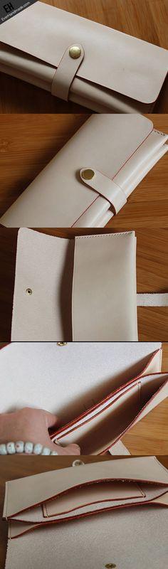 Handmade custom vintage purse leather wallet long phone wallet