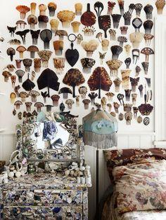 wall display of tortoiseshell hair combs : Greg Irvine — The Design Files