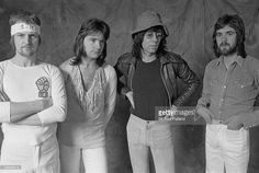 British progressive rock group Manfred Mann's Earth Band, December 1973. Left to right: drummer Chris Slade, bassist Colin Pattenden, singer and keyboard player Manfred Mann and guitarist Mick Rogers.