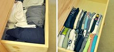 Do you have many drawers in your house? There are many drawers in the kitchen, bedroom and bathroom. Are the contents of these drawers all messy? At this time, it is necessary to tidy the drawers. A good drawer organization can empty and isolate ever Organizing Hacks, Organization Hacks, Cleaning Hacks, Clothing Organization, Clothes Storage, Organizing Drawers, Bedroom Organization, Organize Dresser, Clothes Drawer
