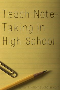 Note taking is an important skill to learn in High School. Find out why.