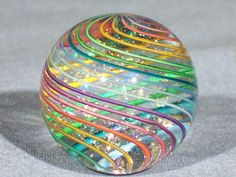 Marbles: Hand Made Art Glass James Alloway Dichroic Marble #1736 1.17 inch
