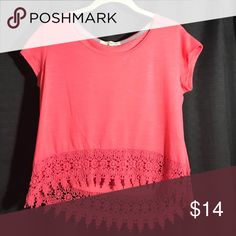 Pink high low crop top Coral/pink short sleeve shirt with a high low floral lace trim Rewind Tops Crop Tops