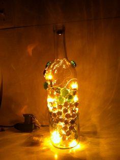 Wine Bottle Lamp in Purple Grape Decor by Smyrnatown on Etsy, $30.00