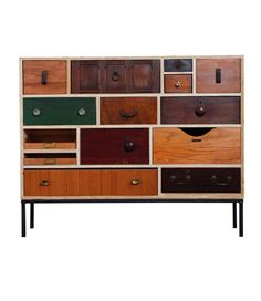 Chest of Drawers Best British Product Design 2011 shortlist.  This bespoke piece, created by upcycling designer Rupert Blanchard, is constructed from old drawers found abandoned or in skips. No two drawers are the same.
