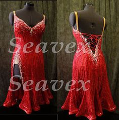 Red Latin Rhythm Competition US10 Dance Dress #L2570 Innate Sequin fabric #seahunter
