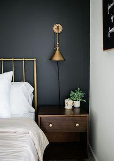 Bedroom Wall Colors, Accent Wall Bedroom, Home Decor Bedroom, Bedrooms With Accent Walls, Bedroom Wall Lights, Dark Bedrooms, Bedroom Ideas, Walnut Bedroom Furniture, Furniture Decor