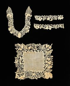 Irish cotton lace accessory set naturalistically representing plants and flowers - quite different from more static designs that would follow later  c. 1850