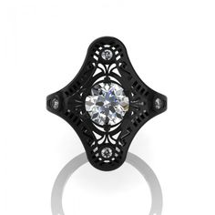 Mexican Art Deco 14K Black Gold 1.0 Ct White Sapphire Engagement Ring Wedding Ring R351-14KBGWS - Perspective