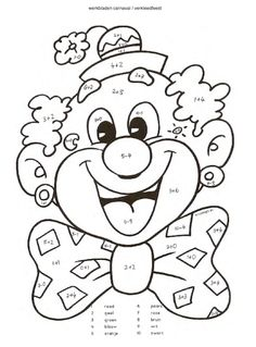 Kunst Grundschule - e-yliko για διδασκαλία Clown Crafts, Circus Crafts, Colouring Pages, Coloring Sheets, Coloring Books, Primary School, Pre School, Color By Numbers, Circus Theme