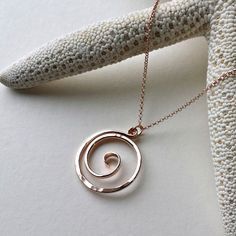Koru Necklace, Maori Necklace, Ring Holder Necklace, Tribal Necklace, Koru Pendant in Rose Gold, Gold Filled, Sterling Silver