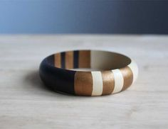 hand painted wooden bangle in dark brown creme by BelleAccessoires