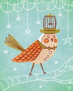 Mr. Birdcage. Art Print (8x10) Illustration by Van Huynh.