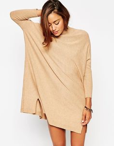 Image 3 ofASOS Tunic Dress In Knit With High Neck In Cashmere Mix