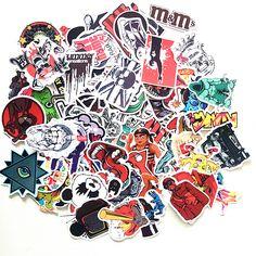 50pcs GIFT Waterproof Paper Posted Single Tide Brand Stickers Stickers Skateboard Trolley toon Stickers Graffiti #Affiliate