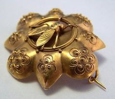 18k Gold French Napoleonic Bee Etruscan Brooch ~ Etruscan Revival Jewelry.