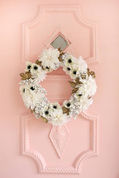 Pretty white + gold holiday wreath DIY