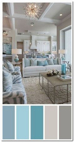 7 Best Living Room Color Schemes Sure to Brighten Your Mood ~ Popular Living Room Design Source by Coastal Living Rooms, Interior Design Living Room, Living Room Designs, Turquoise Living Rooms, Beach Themed Living Room, Coastal Bedrooms, Turquoise Home Decor, Turquoise Room, House Of Turquoise