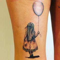 girl with balloon by Noa at tattoo anansi #balloon #girl #kid #luftballon