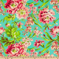 Amy Butler Love Bliss Bouquet Teal from @fabricdotcom  Colors include lime, magenta, coral, white and peach on a teal background.