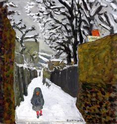 """huariqueje: """" Some Snowscapes of Pierre Bonnard French Post-impressionism Winter Landscape, 1910 The Snow at Dauphine 1910 The Garden in the Snow, Sunset Snow Ball, Children and Dog in. Pierre Bonnard, Edouard Vuillard, Paul Gauguin, Landscape Art, Landscape Paintings, Landscapes, Painting Snow, Snow Art, Impressionist Paintings"""