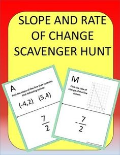 Students practice calculating slope and rate of change, but instead of just sitting at their seats doing a worksheet, they can be up moving around the room! This is an 11 problem, self-checking scavenger hunt. Stem High School, High School Classes, Middle School, Math Resources, Math Activities, Algebra 1 Textbook, Letter Worksheets For Preschool, Linear Function, Math Courses