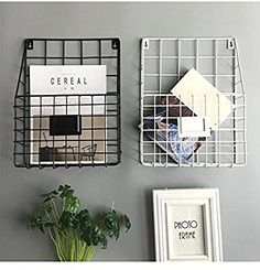 kuso Hanging File Holder - Wall Mounted Metal Mesh Basket Wire Magazine Rack - Shelf Office Folder Organizer with Name Tag Slot for Home & Office (White) Edgy Bedroom, Room Ideas Bedroom, Home Decor Bedroom, Hanging File Organizer, Hanging Racks, Workspace Inspiration, Room Inspiration, Wire Basket Storage, Wire Storage
