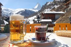 Gluhwein or mulled wine and beer with a view