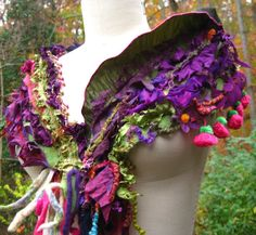 Patchwork SCARF/ WRAP / Shawl with tassels fringes by amberstudios, $69.00