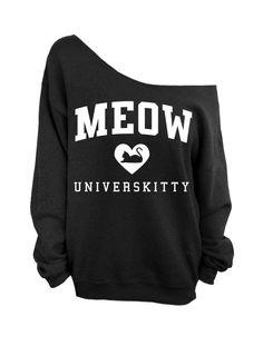 Meow Universkitty Cat Shirt - Black Slouchy Oversized CREW Sweater