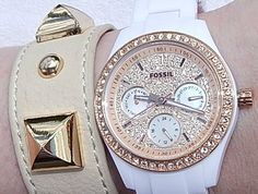 NWT Women's Fossil ES3096 Rose Gold BLING Embellished Face Bezel White Band NWT #Fossil #FOSSILWATCH