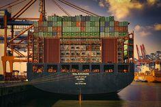 Container ship SALAHUDDIN by Sabine Wagner (docked at Hamburg, Germany)