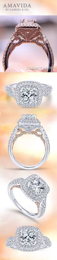 Gabriel & Co. - Voted #1 Most Preferred Bridal Brand.   Secret pink gold details beneath this White Gold Cushion Cut Halo  Engagement Ring.