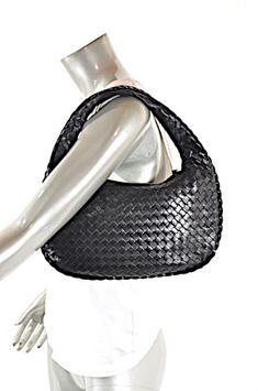 Bottega Veneta Intrecciato Woven Mint Condition Black Leather Satchel cfd7e0c608