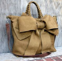 Rustic Leather Bow Handbag in Dark Mustard Brown by stacyleigh