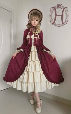 Henrietta -Antique Victorian Doll- Vintage Classic Lolita OP Dress (Long Version)