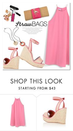 """Summer Straw"" by adduncan ❤ liked on Polyvore featuring MANGO, Valentino, CAbi and strawbags"
