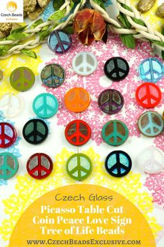 ?? Czech Glass Picasso Table Cut Coin Peace Love Sign Tree Of Life Beads  Brand New Shape! Populare coin table cut shape beads in Picasso finish/ Bohemian/Hippie! - Buy now with discount!  Hurry up - sold out very fast! www.CzechBeadsExclusive.com/+peace SAVE them!