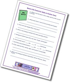 Basic Life Facts for Kids in Foster Care created by lifebook expert beth o'malley
