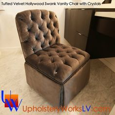 Tufted Hollywood Swank bed with Crystals. Silver velvet headboard, footboard, rails and matching vanity chair. 7 foot tall with metal frame. Built to last! www.UpholsteryWorksLV.com  #upholsteryworks #upholstery #tuftedbed #tufted #tuftedheadboard #velvet #crystals #furniture #lasvegas #hollywood #swank #bed #vanity #vanitychair #silver #crystal