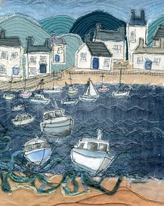 Print of Textile Art depicting a harbour scene. - Print of Textile Art with free hand machine embroidery depicting a harbour scene – Folksy Source by SteffiBuedinger - Freehand Machine Embroidery, Free Motion Embroidery, Free Machine Embroidery, Embroidery Art, Machine Quilting, Fabric Pictures, Art Pictures, Denim Kunst, Denim Art