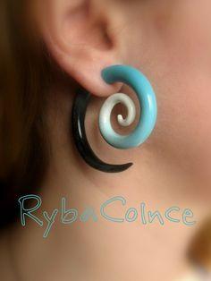 Fake ear tentacle gauge - Faux gauge/Gauge earrings/Tentacle plug/tentacle earrings /spiral gauge/ fake piercing by RybaColnce on Etsy https://www.etsy.com/listing/130530011/fake-ear-tentacle-gauge-faux-gaugegauge