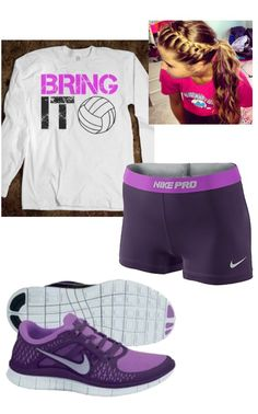 Volleyball outfit. PURPLE AND SPORTY!! who said u couldnt do both! haha…