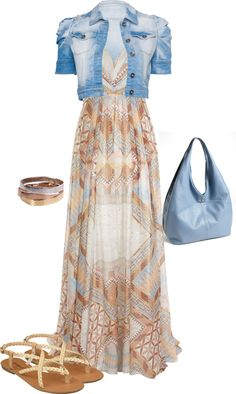 "Need a higher bustline; already have similar shoes...""Maxi Dress with Cropped Denim Jacket"" by fun-to-wear on Polyvore"