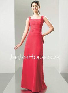 Bridesmaid Dresses - $90.99 - A-Line/Princess Scoop Neck Floor-Length Chiffon Bridesmaid Dresses With Ruffle (007001869) http://jenjenhouse.com/A-line-Princess-Scoop-Neck-Floor-length-Chiffon-Bridesmaid-Dresses-With-Ruffle-007001869-g1869