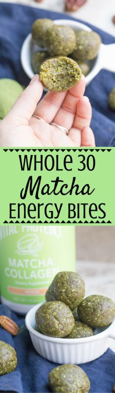 These Whole 30 Matcha Energy Bites are packed with healthy fats and protein. They are a perfect whole 30 friendly, gluten free snack for meal prepping + enjoying throughout the week! This post is sponsored by Vital Proteins. | paleo | whole 30 | whole 30 approved | healthy snack | whole 30 energy bites | matcha bites | matcha | gluten free | grain free |