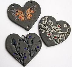 Stoneware Hearts by Lisa Peters Art, via Flickr - I love it!