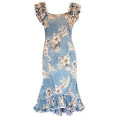 Sky Blue Hawaiian Meaaloha Muumuu Dress with Sleeves – PapayaSun Hawaiian Muumuu, Blue Hawaiian, New Dress Pattern, Blue High Low Dress, Island Outfit, Traditional Dresses, Dress Collection, Dresses With Sleeves, Hawaiian Outfits