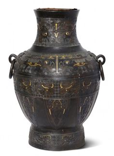 Henkelvase China, Qing-Dynastie. Bronze mit Gold